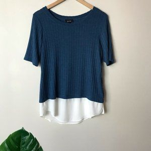 Alyx | Short Sleeve Blouse Blue with Sheer Layer M